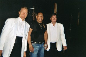 Aaron Neville, the great R & B artist, and Doug Hall backstage