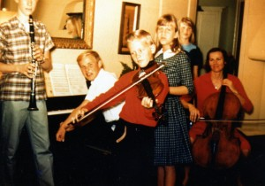 My brother John on clarinet, my two sisters, my mother on cello, and Roger, a family friend, at the piano.