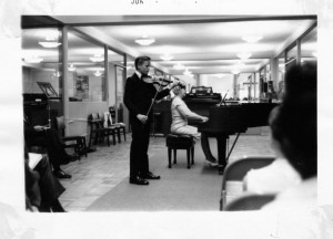 Playing the Mendelssohn concerto downtown at Thearles Music at 7th and C St., about three years before I joined the SDSO.